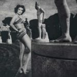 JANE RUSSELL - Russell is shown here next to sports stadium Stadio dei Marmi. She was probably most famed for her role in Gentleman Prefer Blondes opposite Marilyn Monroe, who also appears in the exhibition.
