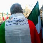 """""""We are reclaiming our future,"""" printed on the Italian flag.Photo: Rosie Scammell/The Local"""