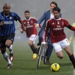 """The politician goes for a cycling tackle on the pitch in Milan.Photo: <a href=""""https://twitter.com/andreafcecchin"""">Andrea Federico Cecchin</a>"""