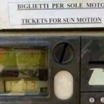 """For the inexperienced translator, """"only mopeds"""" easily becomes """"sun motion"""".Photo: Wanted in Rome"""