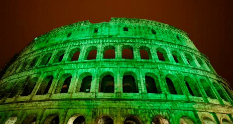 Rome's Colosseum goes green for St Patrick's Day