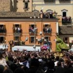 <b>La Madonna che scappa in piazza -</b> In the town of Sulmona after the Easter Sunday service, priests carry the statue of Mary and run it to the statue of Christ at the other end of the square.Photo: Nicola Vinciguerra/Wikicommons