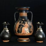 An Apulian Pelike (jar) dated to 340-300 BC and a pair of Oinochoa, used for wine, from around 330-300 BC.
