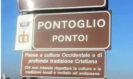 Italian town must remove 'Christian values' sign
