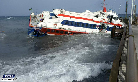 Sicilian passenger ferry sinks after smashing into pier