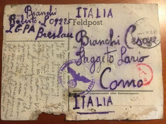How this postcard to Italy from a Nazi labour camp finally got delivered