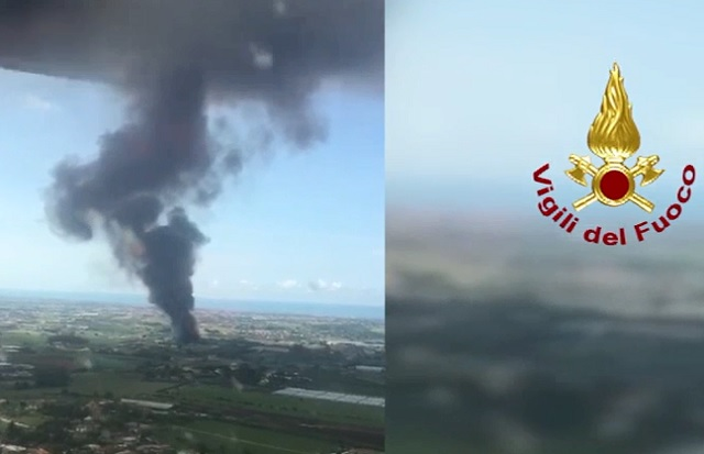 Smoke clouds visible from Rome after rubbish depot blaze