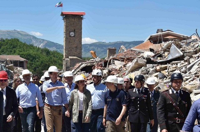 Canadian PM Trudeau meets Italy's earthquake survivors