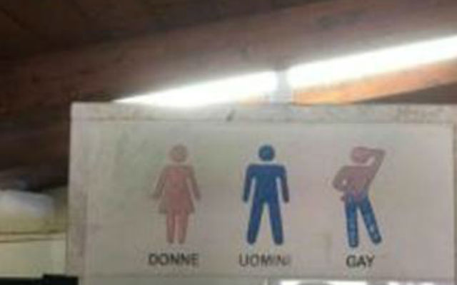 Hotel with separate gay toilet icon causes uproar