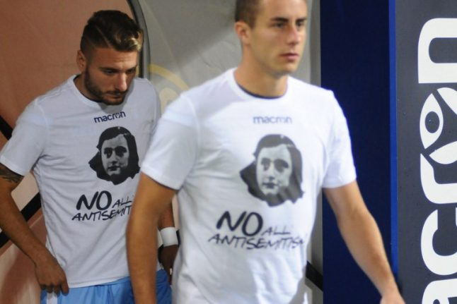 Lazio players don Anne Frank shirts, fans sing 'I don't care'