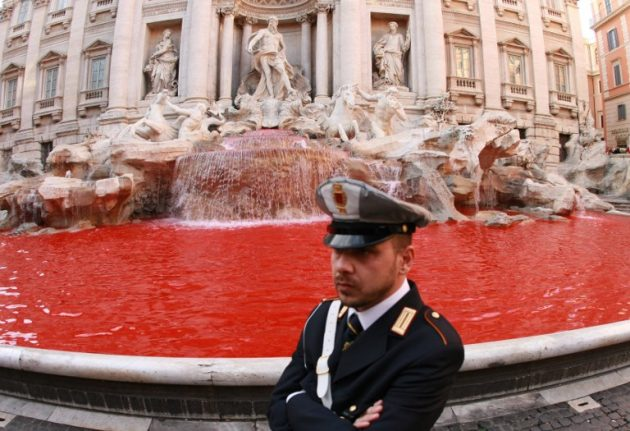 Trevi Fountain runs red for second time in 7 years