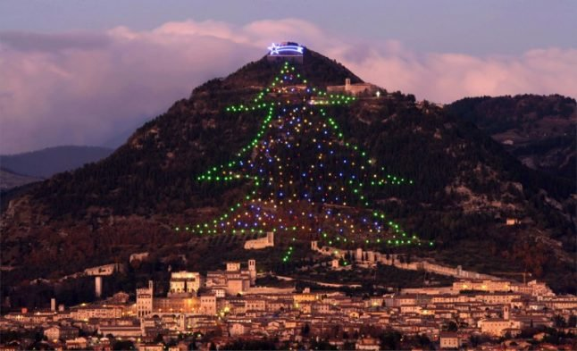 World's largest 'Christmas tree' in Gubbio lit up from space