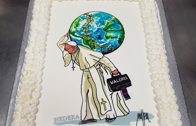 Pope Francis celebrates 81st birthday with cake designed by a Roman street artist