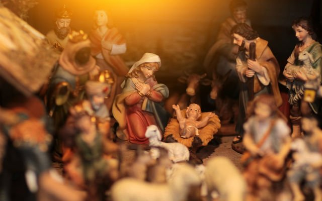 Nativity scene made of nuts, fruit peels and beans goes on display