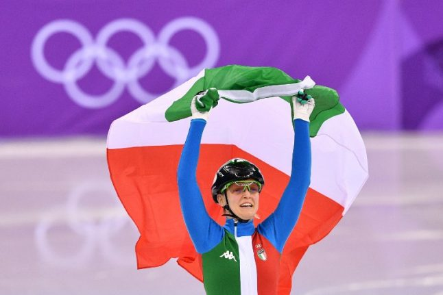 Arianna Fontana wins Italy its first gold medal of the Winter Olympics
