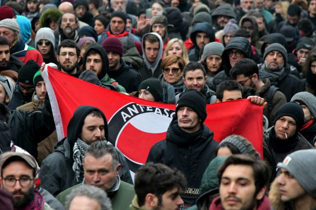 Anti-fascist protesters rally in flashpoint Italian town