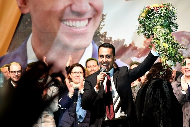 Italy's Five Star Movement celebrates victory in leader's hometown