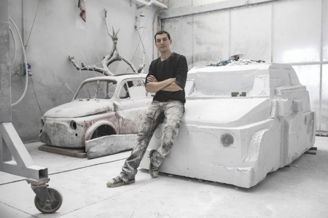 Italian artist sculpts a Fiat 500 out of marble
