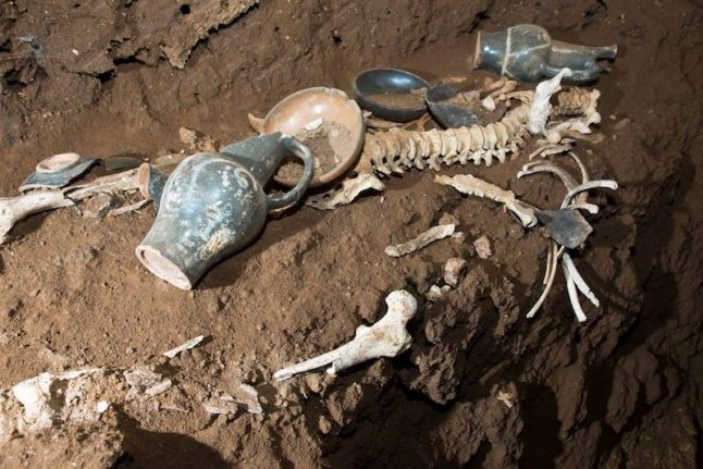 Ancient Roman tomb discovered intact while digging aqueduct