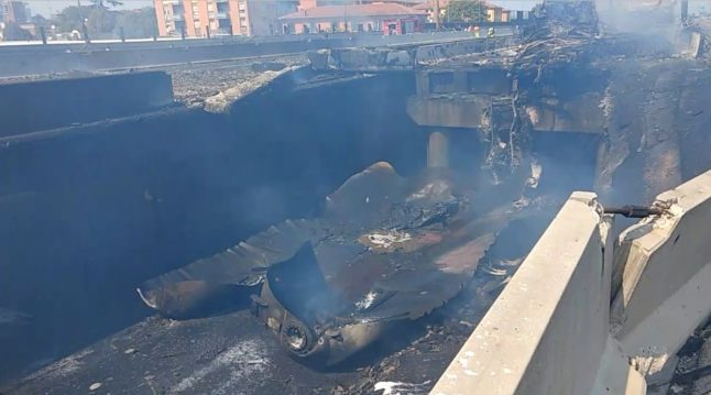 Tanker explodes on the road near Bologna airport
