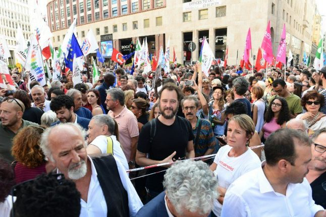 IN PICTURES: Thousands protest in Milan against Salvini-Orban alliance