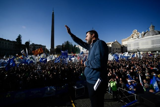 Italy's Salvini hails six months in power with Rome rally