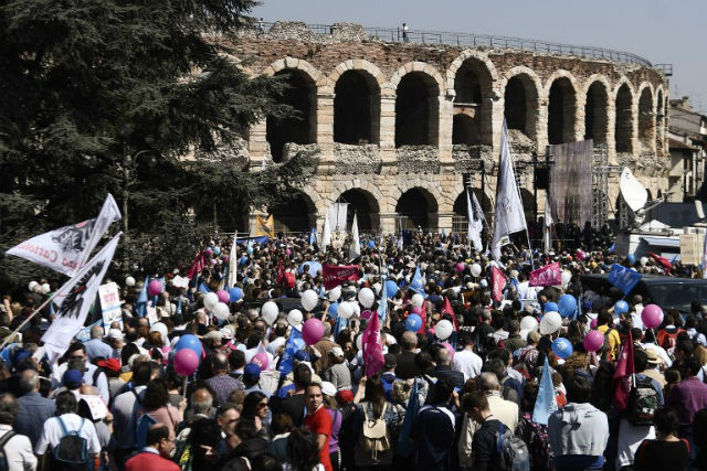 Thousands join anti-abortion Congress of Families march in Verona
