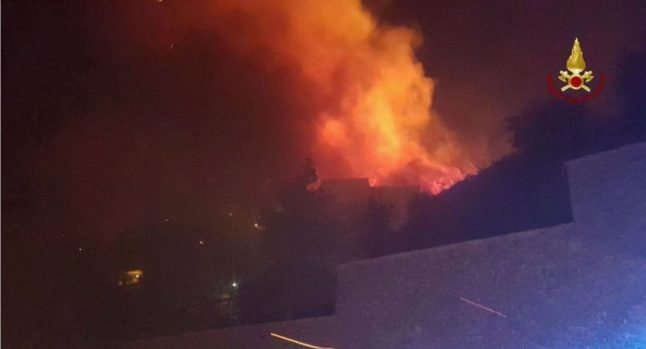 Residents evacuated as wildfires take hold near Genoa