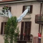 Anger in Italy after firefighters 'forced' to remove Salvini protest banner
