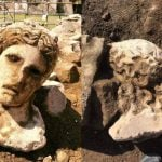 Ancient marble head of god Dionysus discovered under Rome