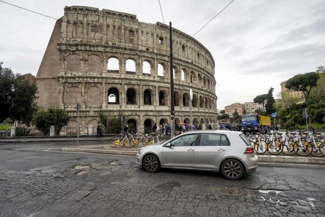 Building evacuated after sinkhole opens up near Rome's Colosseum