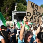 Protests in Italy against Covid health pass