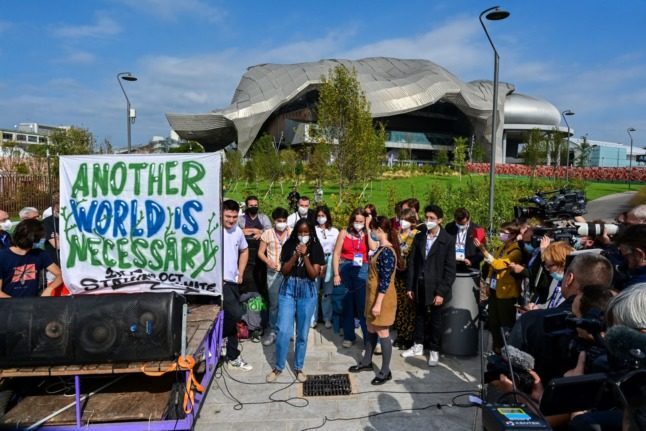 Hundreds of youth activists protest climate inaction ahead of Milan summit