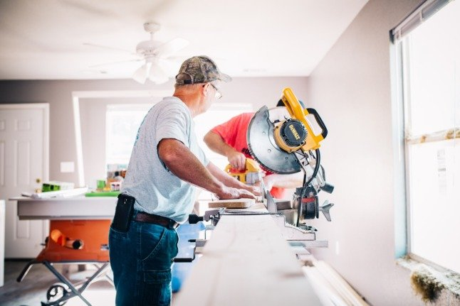 Builders carry out renovations.