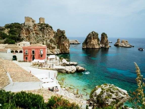 Houses by the sea in Sicily, Italy.