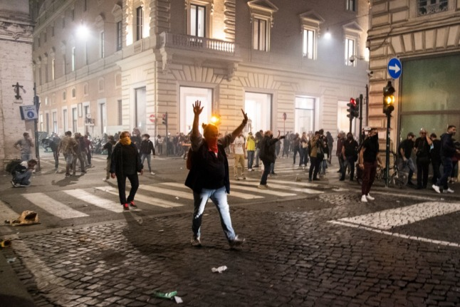 A protest against the green pass in central Rome on October 9, 2021 descended into violence and clashes with police.